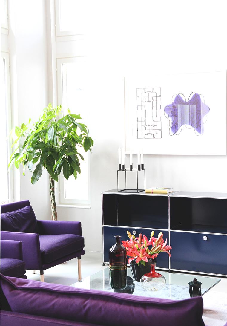 violetti sohva kubus olohuone asuntomessut hunajaista 2013