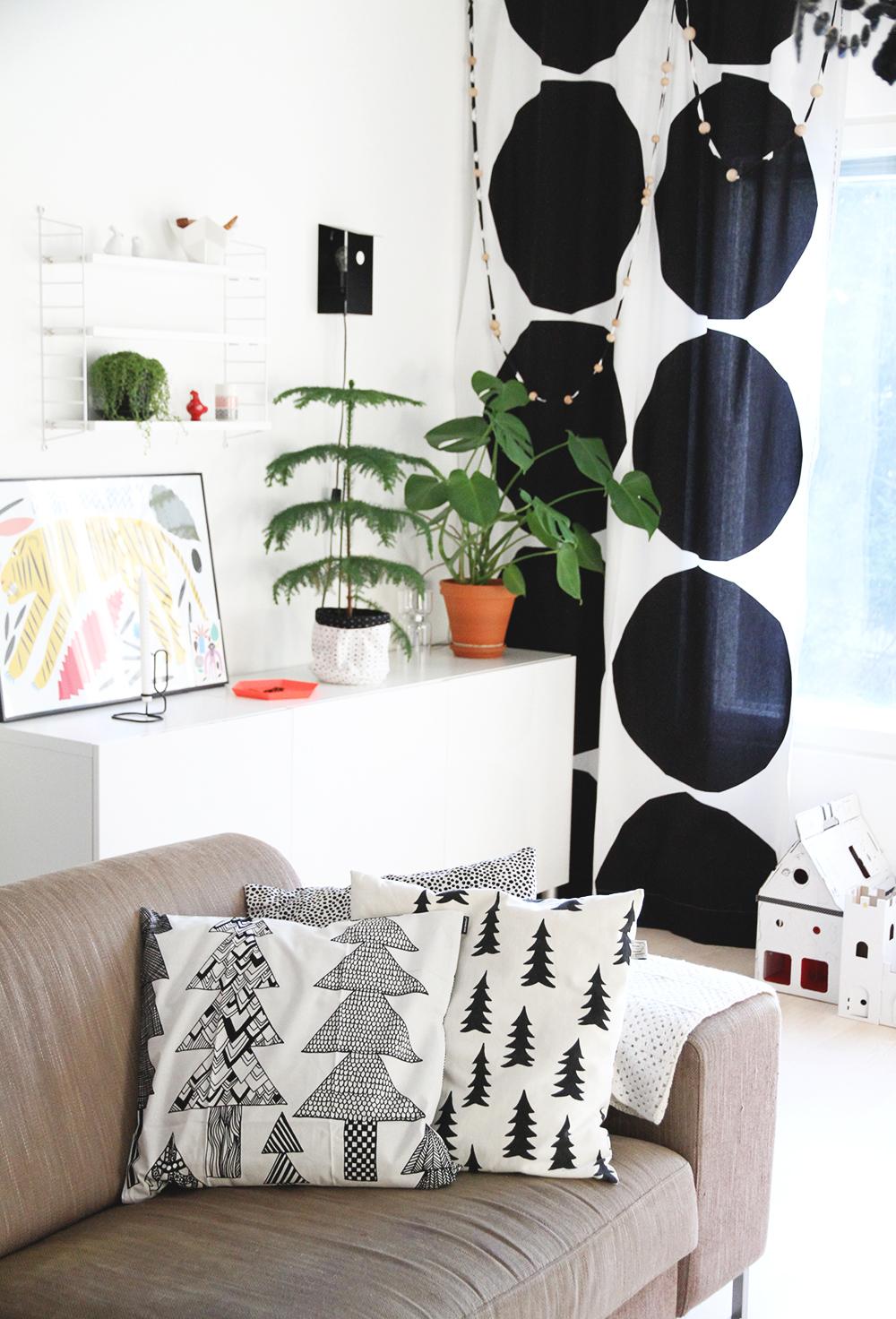 hunajaista sisistusblogi decoration interior finnish home marimekko fine little day balck white string