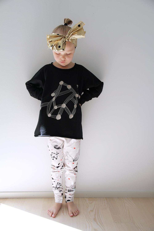 hunajaista siiri poseeraa papustories tikkupaita legginsit lastenmuoti trendit