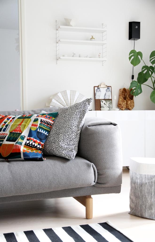 marimekko hunajaista sisustustyynyt olohuone livingroom